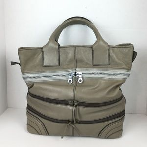 Chloe Large Leather Tote with Zippers in Taupe